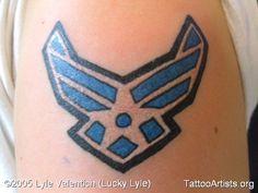 Lyles Tatoo am Oberarm. US Air Force Logo. Air Force Tattoo, Air Force Memorial, Us Air Force, Deathly Hallows Tattoo, Shadow Box, Tatoos, Piercings, Favorite Things, Ink