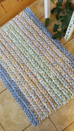 "Rag Rug Handmade Cotton Crochet Kitchen Rug 32"" x 22"" Sun room Rug Beautiful Color Reclaimed Recycled Materials Durable Washable Gift Idea #mothersdaygift #farmhousedecor #rusticdecor"