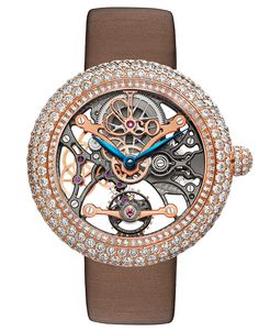 <p>The Brilliant Skeleton Jewelry timepiece combines the classic art of the skeleton watch with the jeweler's art of meticulous, invisible gem setting with 409 magnificent white diamonds totaling more than 10 carats. A limited edition of 101 pieces, the Brilliant Skeleton Jewelry not only sparkles on the case, it shines the light on every crafted component of the movement through its sapphire crystal front and case back.</p>