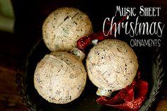 DIY Music Sheet Ornaments