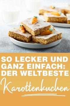 So lecker und ganz einfach: Der weltbeste Karottenkuchen Hamburger, Cereal, Muffins, Baking, Breakfast, Food, Sweet Desserts, Sheet Cakes, Bread Making