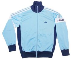 80s 90s Adidas Track Top Blue and White Size 174 UK Medium Tracksuit Top Jacket Excellent