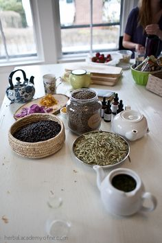 Just because it's an online course, doesn't mean there's no classroom. Here's the setup for a herbal start to the day.