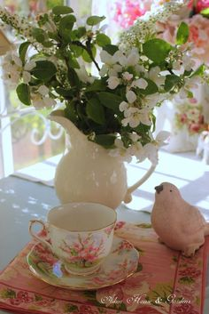 Aiken House & Gardens: Tea Time - Blossomtime tea cup with apple blossoms.