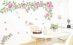 1 X UfingoDecor Romantic Rose Flower Vine Wall Decals Living Room Bedroom Removable Wall Stickers Murals *** See this great product.