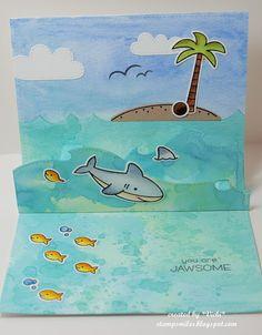 Cute Card Thursday, Lawn Fawn, watercolor, Oxide Inks, ocean, sea, shark, fish, Summer, pop-up card, Duh-Nuh