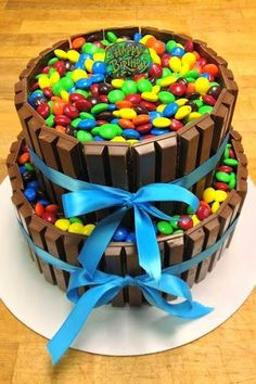 2 tier M&M cake