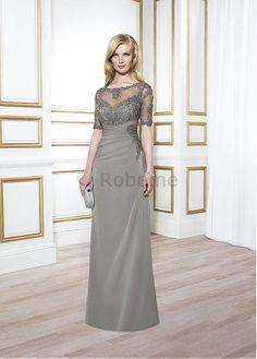 Robe mère de mariée avec manche longueur ras du sol décoration dentelle perle