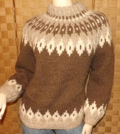 Womens Blarney Mills Wool Hand Knit Aran Fair Isle Icelandic Style Sweater sz S