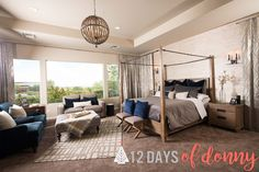 Donny & Debbie's Master Bedroom! So Many great DOH pieces in here! Including our Madeline Bed & Nightstand & Lowell 6 light Pendant. http://bit.ly/MadelineBedDOH #12DaysOfDonny #Day6