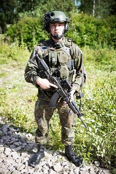 Finnish infantry soldier with new helmet