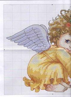 Angel 1 of 2 Cross Stitch Fairy, Cross Stitch Angels, Cross Stitch For Kids, Cross Stitch Boards, Cross Stitch Heart, Cross Stitch Designs, Cross Stitch Patterns, Cross Stitching, Cross Stitch Embroidery