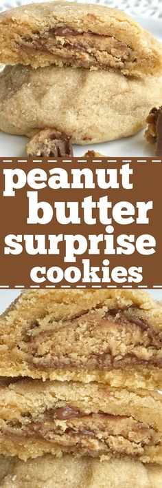 Thick & puffy peanut butter cookies stuffed with a surprise of a miniature Reese's peanut butter cup! These thick & soft baked peanut butter cookies are full of peanut butter flavor with a candy surprise in the middle.