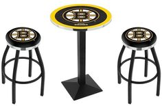 Boston Bruins NHL Black Square-Base Pub Set