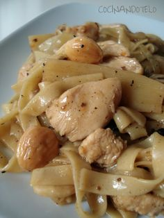 WOK DE POLLO CON FIDEOS CHINOS Y BAMBU - CHINESE NOODLES WITH CHICKEN AND BAMBOO