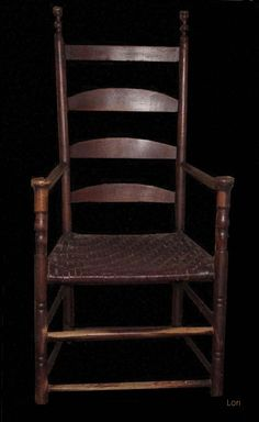 18TH C CONNECTICUT LADDERBACK ARMCHAIR