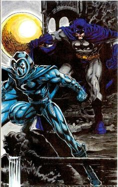 Batman & Moon Knight by Peter Temple, Dan Tumming and Mark Brown Comic Book Characters, Comic Book Heroes, Marvel Characters, Comic Character, Comic Books Art, Comic Art, Knight Art, Moon Knight, Dark Knight