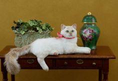 Dollhouse Miniature Shelf Sitting Cat by Paizley Pawz *OOAK