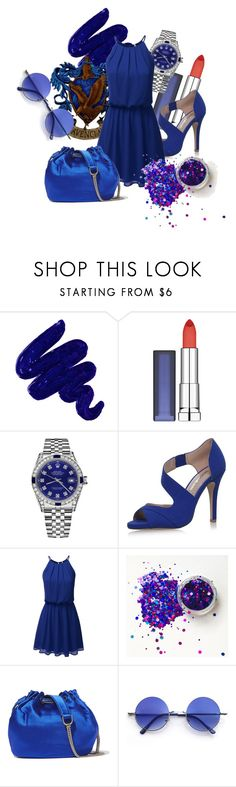 """""""Ravenclaw Inspired"""" by rarimena ❤ liked on Polyvore featuring Obsessive Compulsive Cosmetics, Maybelline, Rolex, Miss KG, Diane Von Furstenberg, hogwarts, Blue and dress"""