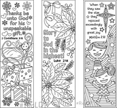9 Christmas Coloring Bookmarks (6 designs with Bible Verses and 3 ...