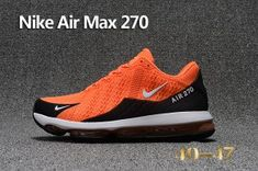 884e531e8 Mens Nike Air Max 270 Flair KPU Sneakers Orange Black White Cheap Nike Air  Max