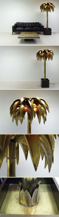 Maison Jansen Large standing brasscolor palmtree lamp (3496)