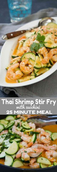 The flavors in this Thai Shrimp Stir Fry with Zucchini are beyond amazing! Plus, this healthy dinner comes together in about 25 minutes. 223 calories and 4 Weight Watchers Freestyle SP