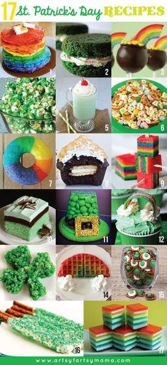 17 St. Patrick's Day Recipes at artsyfartsymama.com #StPatricksDay #recipes