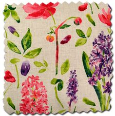 Arthur Sanderson Spring Flowers fabric, loving the bright print. Scatter Cushions, Throw Pillows, Comfy Armchair, Garden Styles, Spring Flowers, My Room, Fabric Flowers, Contemporary Style, Floral Design