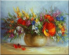 Malarstwo i Fotografia - Ewa Bartosik: Kwiaty Polne Palette Knife, Texture Painting, Peppermint, Poppies, Decoupage, Planter Pots, Pastel, Fine Art, Flowers