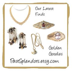 """""""Golden Goodies--Our Latest Finds from PastSplendors"""" by pastsplendors ❤ liked on Polyvore featuring vintage, ring, jewelry, necklace and brooch"""