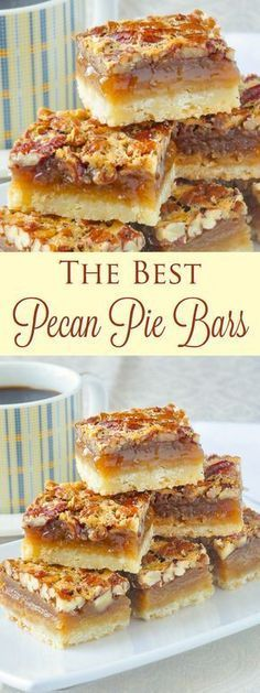 The Best Pecan Pie Bars – so quick & easy to make! The Best Pecan Pie Bars – this easy recipe includes a simple shortbread bottom & a one bowl mix & pour topping. Tips for baking & cutting them are included. Holiday Desserts, Holiday Baking, Christmas Baking, Easy Desserts, Christmas Christmas, Christmas Parties, Christmas Treats, Christmas Recipes, Pecan Desserts