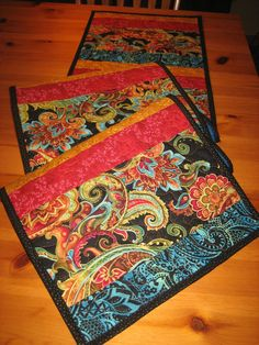 Table Runner Quilted Boho Paisley Red Gold Turquoise Black Contemporary Long Runner Table Linens Table Decor Reversible Runner Handmade by TahoeQuilts on Etsy