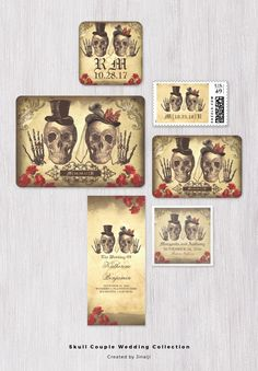 Gothic skull couple wedding invitations with two skulls and wedding rings.