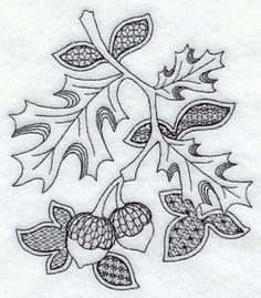 blackwork | ... Designs at Embroidery Library! - Autumn Leaves and Acorns (Blackwork