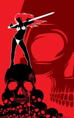 Red Sonja Skull Queen by TomKellyART.deviantart.com on @deviantART