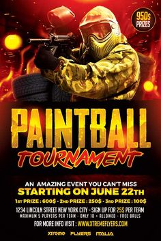 Paintball Flyer Template - http://xtremeflyers.com/paintball-flyer-template/ Paintball Flyer Template   Paintball Flyer Template PSD was designed to a paintball / airsoft tournament.  The design is well sorted in folders, and all the elements can be removed or rearranged as you please. You don't need a good knowledge of Photoshop to edit this template : you will find #Flyer, #Paintball, #Photoshop, #Poster, #Psd, #Template, #Tournament