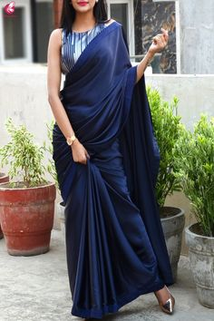 Best 11 Buy Blue Satin Dupion Silk Taping Saree – Sarees Online in India Trendy Sarees, Stylish Sarees, Fancy Sarees, Saree Blouse Patterns, Sari Blouse Designs, Designer Saree Blouses, Indian Designer Sarees, Designer Kurtis, Indian Designer Outfits