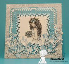 """Gina Marie Dies, Chameleon Pens and Cute as a Buttons """"Wedding Day"""" ...and more  subtle inked watercolor effect multi layer card.  more details at    http://www.craftingcircle.com/Bloggit/?p=11007"""