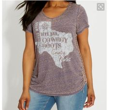 1X,2X,3X Maurices Plus Size Country Texas Bar Boots Graphic Top T-Shirt burnout #Maurices #GraphicTee