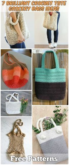 7 Brilliant Crochet Tote Grocery Bags Ideas Free Patterns