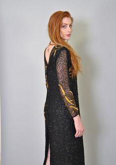 Vintage Sequin Dress 80s Black Beaded GLAM Midi Dress M L