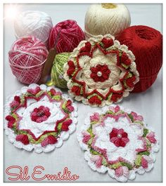 motivo floral de crochê
