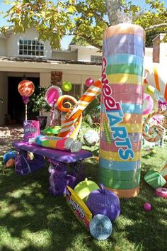 Use gigantic candy for decor. #candylanddecorations Use gigantic candy for decor.