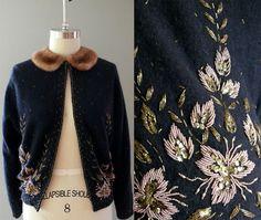 1950s cardigan . 50s black beaded angora sweater by coralvintage