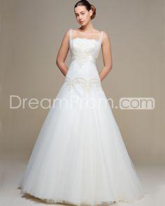 Gorgeous A-line Straps Floor-length Court  Appliques Wedding Dresses