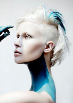 Jasmine Ståhl Norwegian Hairdresser of the year 2011, Futuristic Fashion, Shaved Side Hairstyle, blue, azure, blond