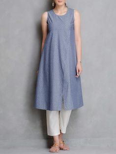 Buy Blue Overlapping Front Round Neck Dobby Cotton Kurta Women Kurtas Woman Divine Contemporary and Tunics Online at Jaypore.com