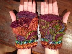 My scrumbled hand warmers Freeform crochet