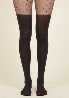 Dotted on the Scene Tights - Black, Polka Dots, Casual, Quirky, Spring, Fall, Winter, Good, Black, Black